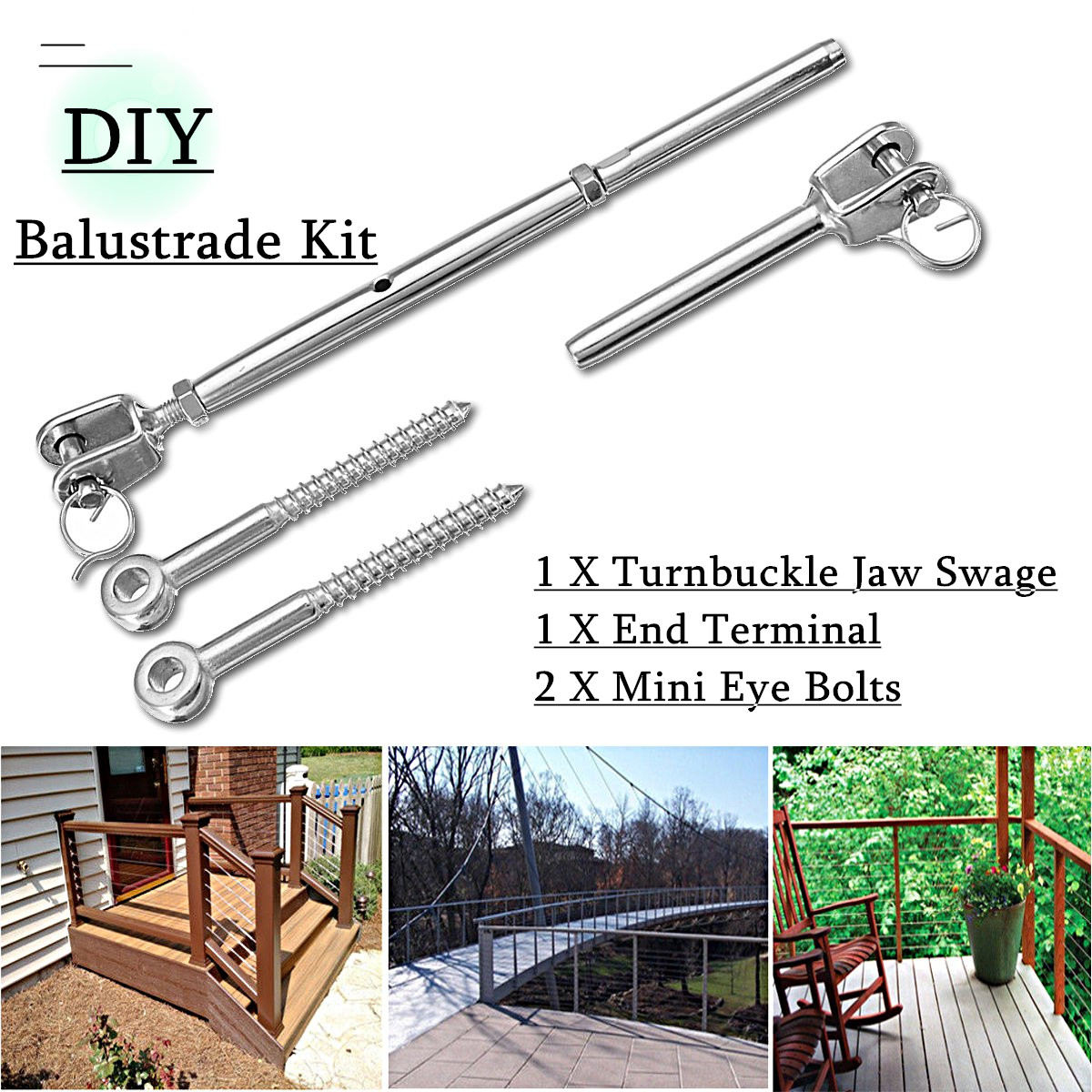 Stainless Steel Wire Rope DIY Balustrade Kit Jaw Swage Fork Terminal Eye Bolts Terminal Turnbuckle for Indoor And Outdoor in Nuts & Bolts from Automobiles