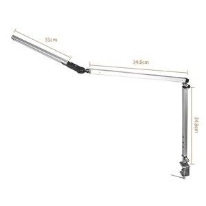 Image 5 - Lámpara de escritorio con brazo largo, lámpara de escritorio Led de oficina con Clip, lámpara de libro de larga vida con protección ocular para dormitorio, luz Led de 3 niveles de brillo y Color