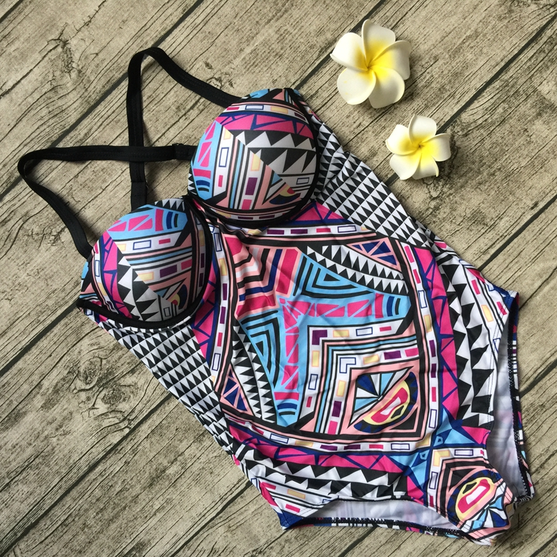 One Piece Swimsuit 2017 Summer Vintage Beach Push Up Monokini BathingSuit Sexy Geometric Swimwear Women Bodysuit Maillot De Bain