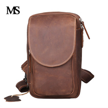 Genuine Leather Men Bag Crazy Horse Mens Handbags Crossbody Vintage Casual Chest TW2002