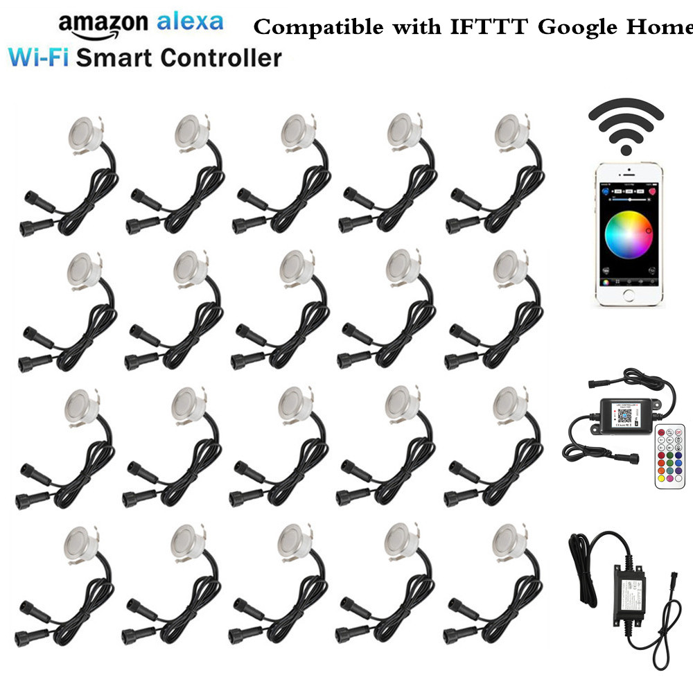 20X Smart WIFI Phone APP Control RGB/RGBW 31mm 12V ip67 Kitchen Stair Step LED Deck Rail Lights for Alexa Echo Google Home IFTTT