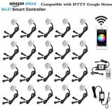 20X Smart WIFI Phone APP Control RGB/RGBW 31mm 12V ip67 Kitchen Stair Step LED Deck Rail Lights for Alexa Echo Google Home IFTTT
