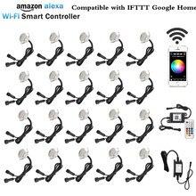 20X inteligentne wifi obsługa przez aplikację w telefonie RGB/RGBW 31mm 12V ip67 kuchnia schodek led na taras światła na szynę dla Alexa Echo Google Home IFTTT