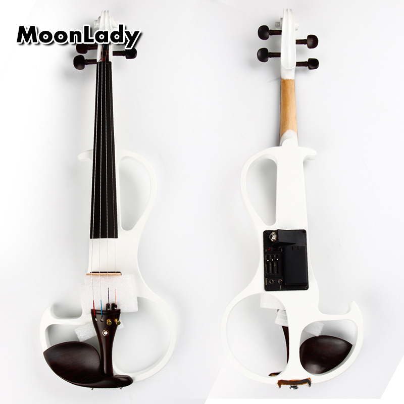 4/4 ABS Electric Violin White Musical Instruments High Quality Stringed Instrument Good for Beginners and Music Amateurs 4 4 electric acoustic violin basswood fiddle with violin case cover bow rosin for musical stringed instrument lovers beginners