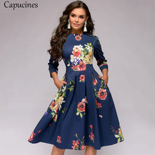Capucines Women's Elegent Pleated Floral Printing A-line Dress 2019 Autumn Vintage 3/4 Sleeve Pockets Casual Blue Party Dress(China)