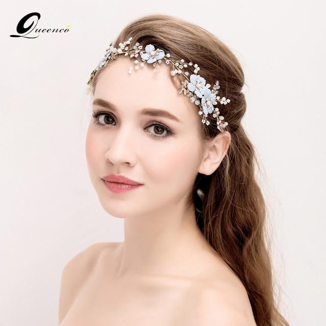 Blue Flower Headband Leaf Crystal Wedding Hair Accessories Fashion Bridal Headpiece Bride Jewelry Women Ornaments