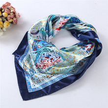 2016 Summer Womans Scarf Vintage Vase Ceramics Handkerchief Elegant Ladies Square Satin Scarfs Hot Adult Scarves 90*90 Headband