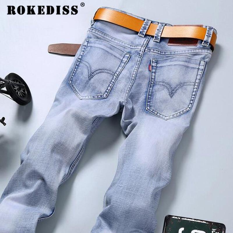 New Fashion 2017 famous brand men jeans Summer jeans light color slim jeans pants trousers male long jeans for men TC127 new 2017 male fashion boutique pure color rivets adornment blue leisure jeans male high grade slim foot casual jeans pants