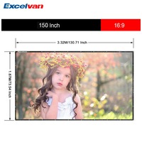Excelvan 150 Inch 16:9 Collapsible PVC HD Portable Home And Outdoor Use Projector Screen With Hanging Hole For Front Projection