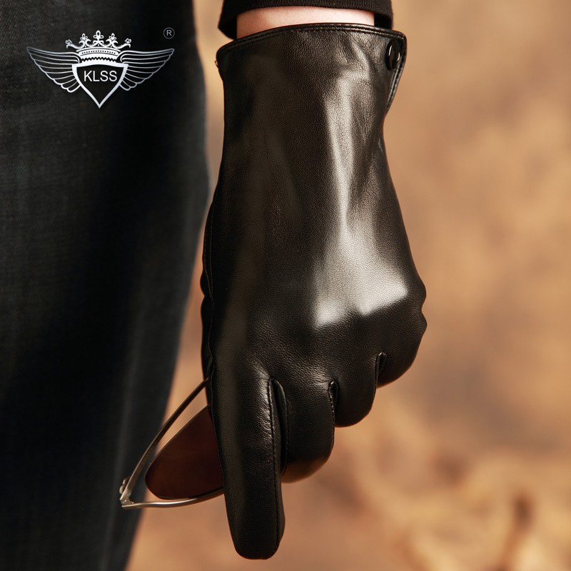 KLSS Brand Genuine Leather Men Gloves High Quality Goatskin Gloves Fashion Trend Black Driving Glove Winter