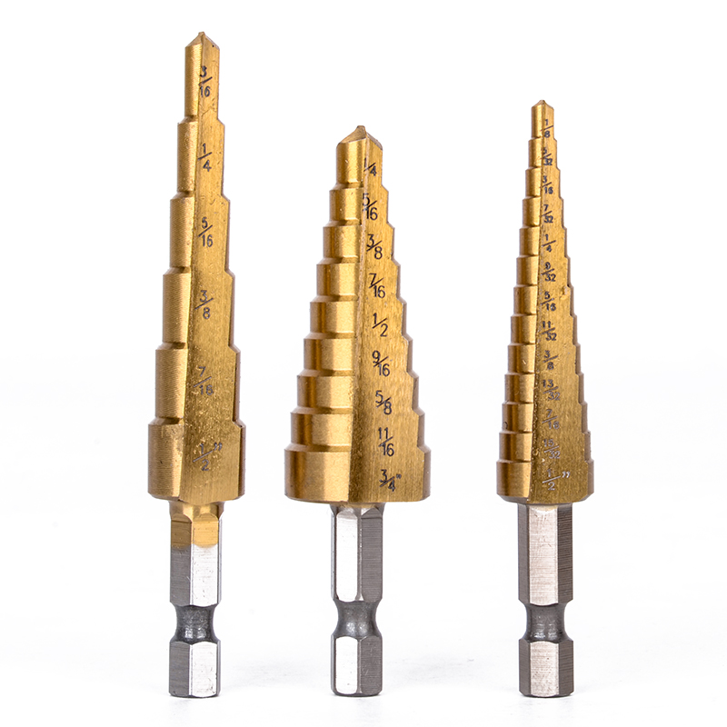 3pcs Large HSS Step Cone Drill Bit Titanium Coated Wood Milling Cutter Set With Bag 6/9/13 Steps Mayitr 3pcs hss 4241 step cone drill bit set 1 4 hex shank titanium coated wood hole cutter 6 9 13 steps for power tools