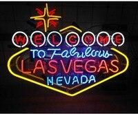 Niestandardowe powitanie LES VEGAS piwo do baru szklana neonowy znak świetlny w Żarówki i oprawy neonowe od Lampy i oświetlenie na