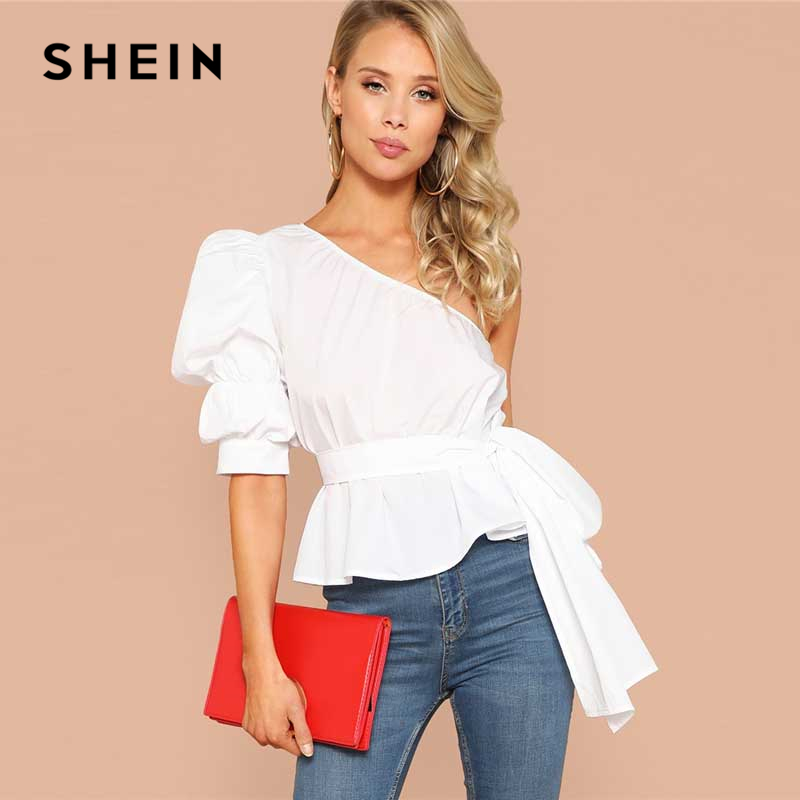SHEIN Sexy One Shoulder Puff Sleeve Peplum Knot Belted Top Blouse Women Summer 2019 Solid Ruffle Elegant Party Blouses in Blouses amp Shirts from Women 39 s Clothing