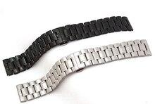 Correa de acero inoxidable doble click hebilla negro plateado anchura 22 mm 24 mm 26 mm 28 mm 30 mm metal pulsera band hombre accesorios
