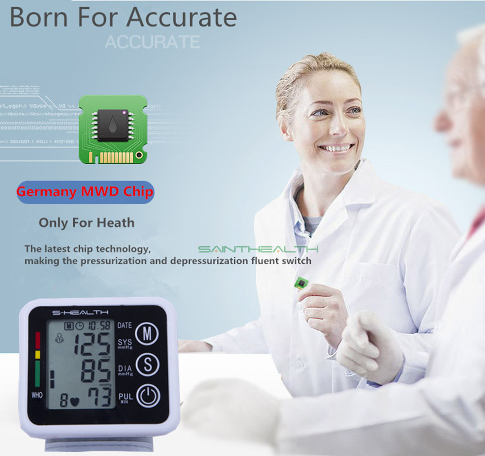 New Health Care Germany Chip Automatic Wrist Digital Blood Pressure Monitor Tonometer Meter for Measuring And Pulse Rate 1