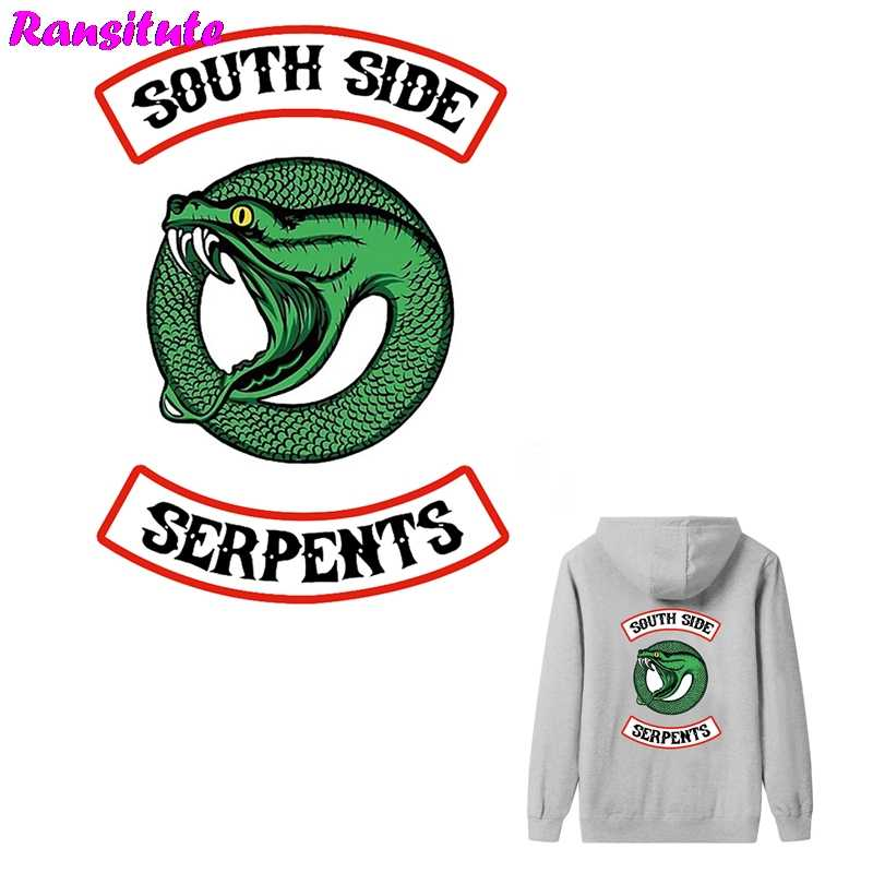 R290 2pcs/set RIVERDALE snake head thermal transfer washable heat transfer children DIY decal decoration badge