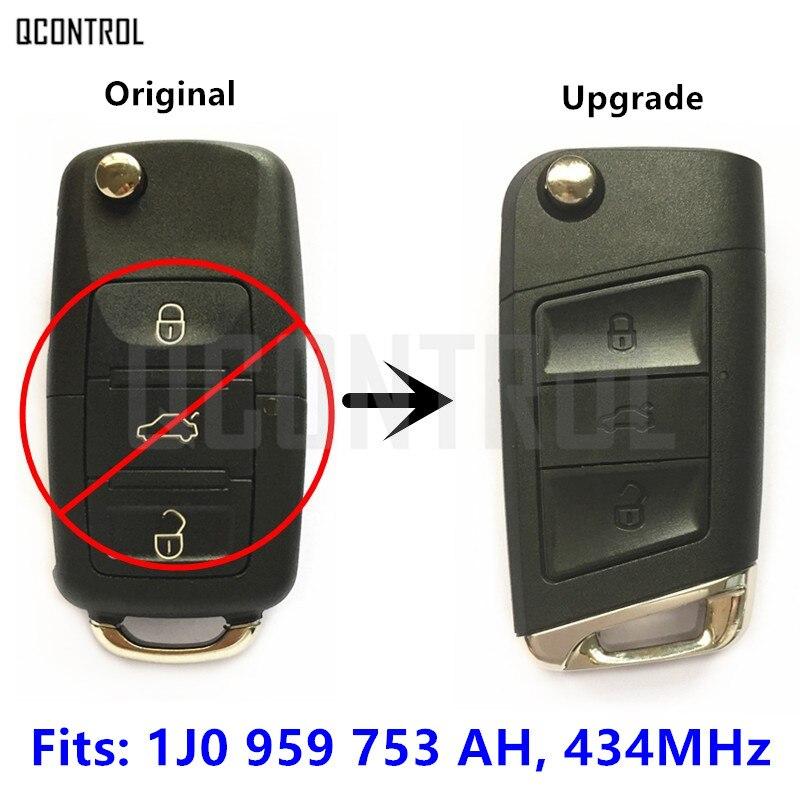 QCONTROL 1J0 959 753 AH Upgrade Remote Key for VW/VOLKSWAGEN Passat/Bora/Polo/Golf/Beetle 1J0959753AH
