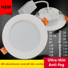3W/5W/7W/9W/12W/15W/18W/24W ceiling light anti-fog Open hole Ultra-thin LED ceilinglight Embedded ceiling Die-casting xenon lamp(China)