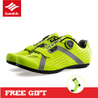 Santic 2018 New Breathable Road Bike Shoes Men Pro Self Locking Bicycle Cycling Shoes 3 Colors Ultralight Sport Riding Shoes
