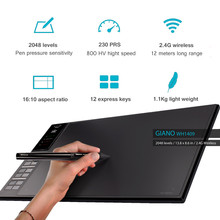 Huion GIANO WH1409 Wireless 2.4G Graphic Drawing Tablet 14″ Built-in 8GB Memory Card Digital Tablets Pen Tablet Bag Glove Gift