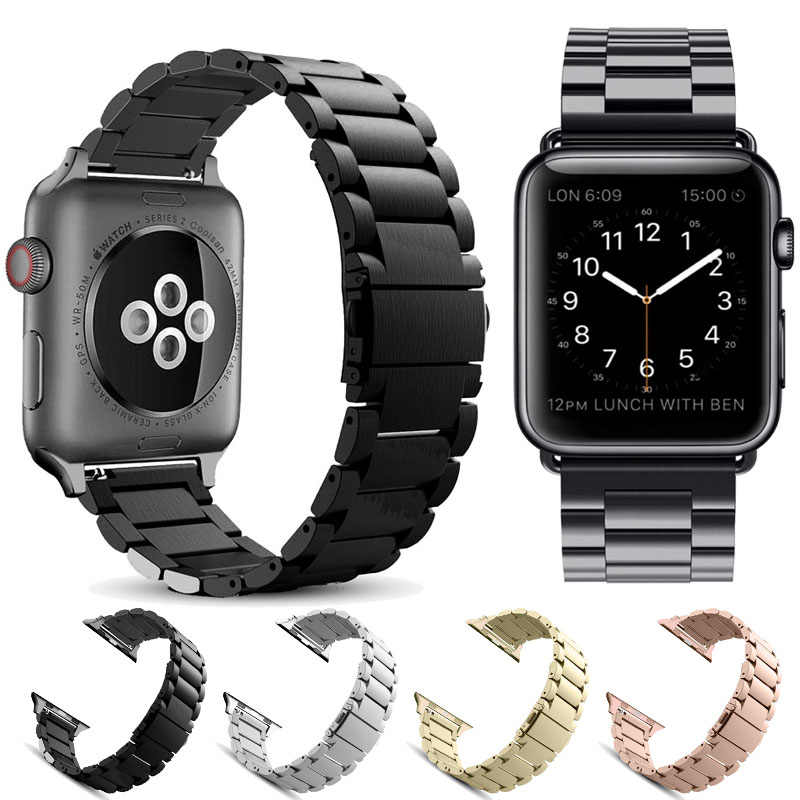 Stainless Steel bands for Apple Watch band iWatch strap metal watch band adapter 38mm 40mm 42mm 44mm Bracelet Clasp series 4 3 2