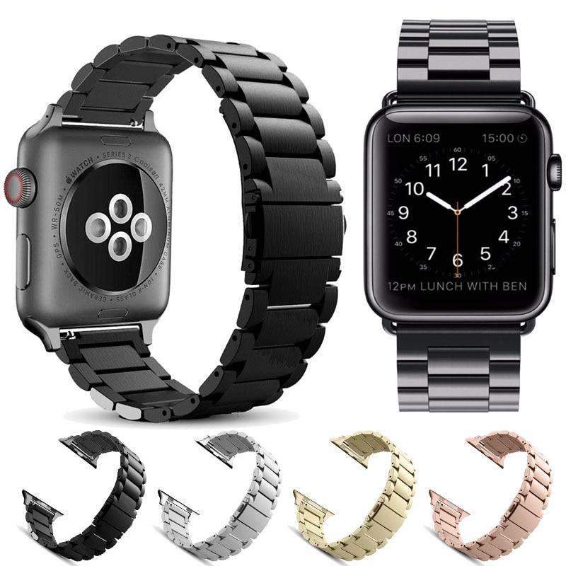 Bandas de aço inoxidável para apple relógio banda iwatch pulseira metal relógio adaptador faixa 38mm 40mm 42mm 44mm pulseira fecho série 4 3 2