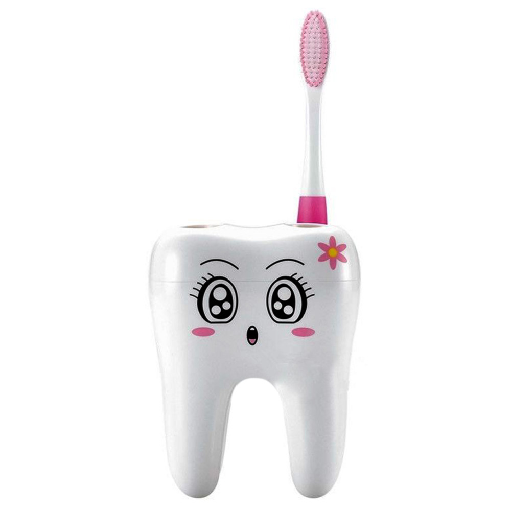 Bathroom:  CABINA HOME Cartoon Toothbrush Holder 4 Hole Style Stand Tray Brush Container Bathroom Product - Martin's & Co