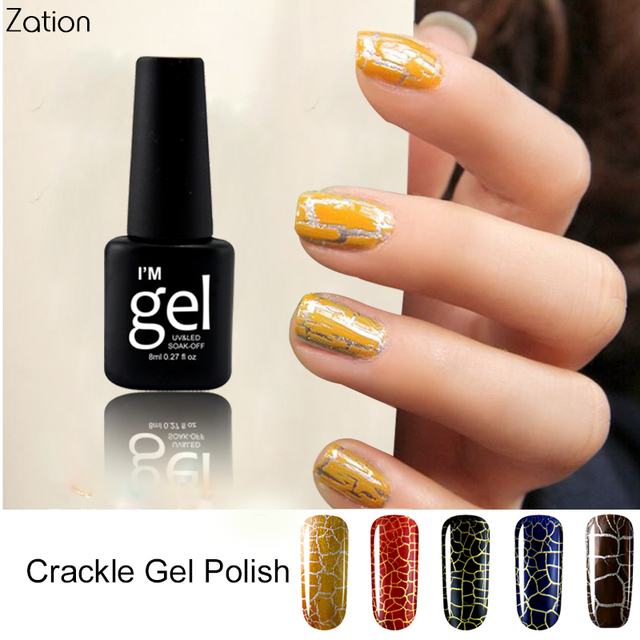 Zation Colorful Crack Nail Gel Crackle UV Gel Lacquer Cracking ...