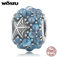 WOSTU Real 100 925 Sterling Silver Oceanic Starfish Charm Fit Original Pandora Charm Bracelet Authentic Jewelry