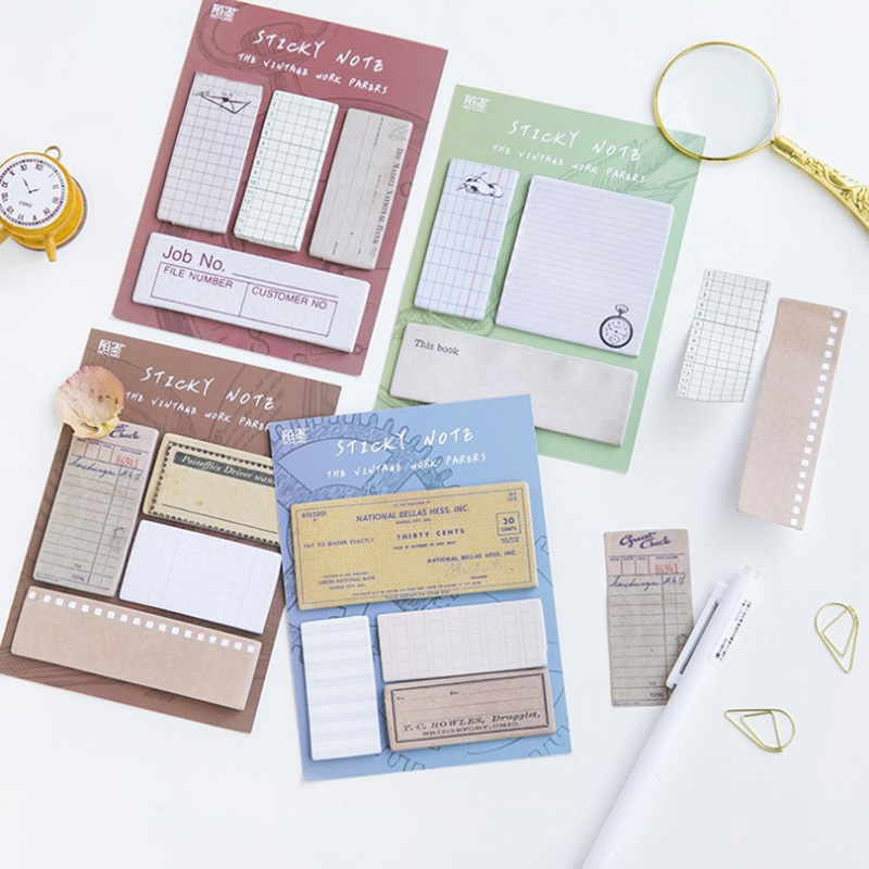 1X kawaii Vintage series weekly plan Sticky Notes Post Memo Pad stationery School Supplies Planner Stickers Paper Bookmarks 200 sheets 2 boxes 2 sets vintage kraft paper cards notes filofax memo pads office supplies school office stationery papelaria
