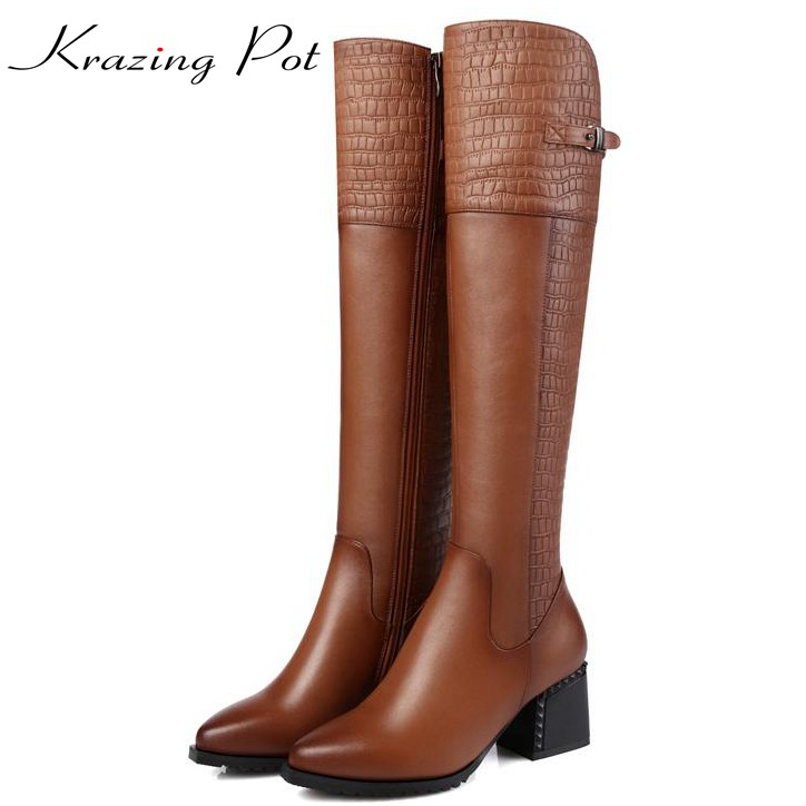 Krazing pot cow leather metal buckle pointed toe high heels platform office lady metal buckle keep warm over-the-knee boots L3f2 krazing pot cow suede real leather autumn winter pointed toe buckle thick high heels women office lady tassel ankle boots l05