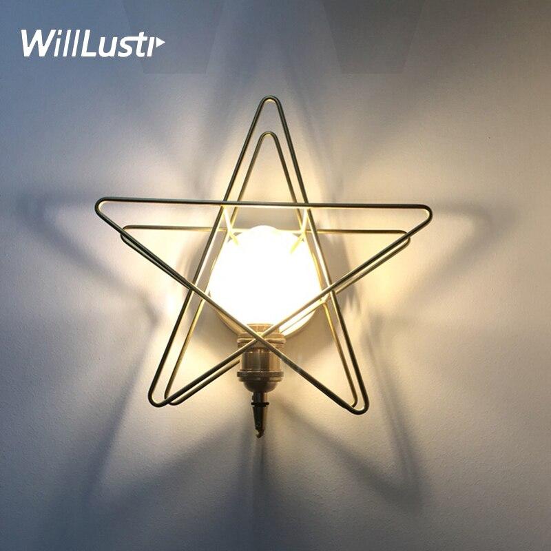 Медная звезда настенный светильник Современный медный настенный светильник 3D латунь настенный светильник для дома столовая спальня ресто