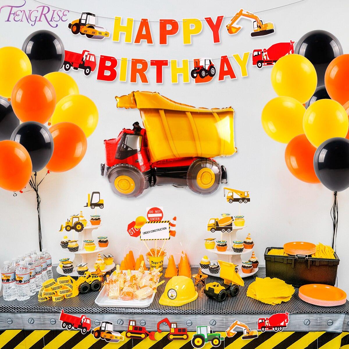 38 pçs decoração de festa de construção caminhão basculante feliz aniversário decoração da festa de crianças kits conjunto de chá de bebê festa favor suprimentos