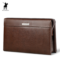 WilliamPOLO Fashion Large Capacity Long Wallet Men Genuine Leather Cash Holder Cigarette Holder Clutch Bag PL171