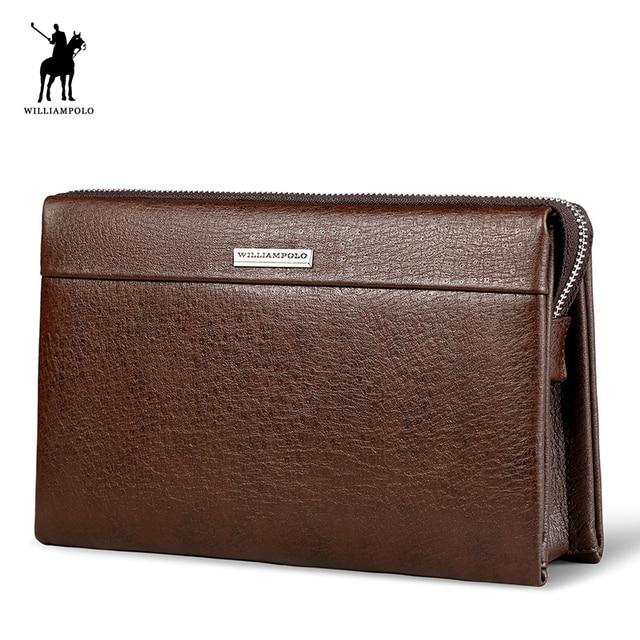 WilliamPOLO Fashion Large Capacity Long Wallet Men Genuine Leather Cash Holder Cigarette Holder Clutch Bag PL171
