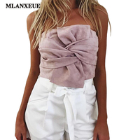 Summer Sexy Suede Bow Strapless Top Casual Spring Zipper Camisole Tank Women Tops Elegant Evening Party
