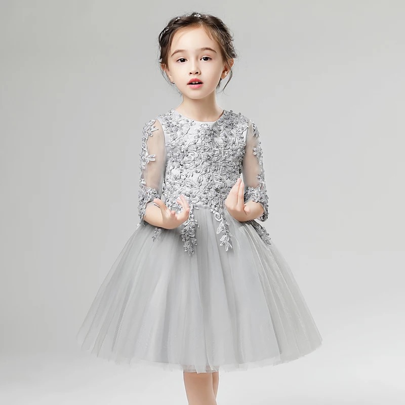 2017 New Highend Elegant Girls Children's Princess Lace Dresses Half sleeves Christmas Clothes Wedding Birthday Party Dress green crew neck roll half sleeves mini dress