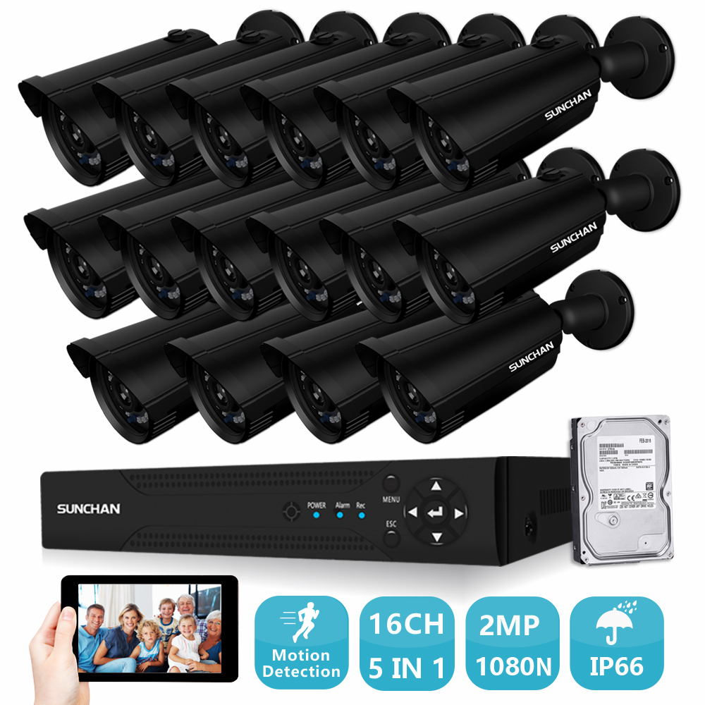 SUNCHAN 1080P AHD CCTV System 2.0MP Full HD 1080P 16CH DVR 16pcs Outdoor Waterproof Night Vision Easy APP Remote View with HDD