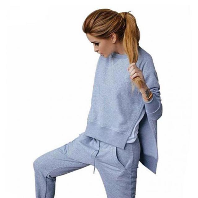Ladies Yoga 2 Pcs Tracksuit Women Sets Asymmetrical Side Split Sweat Suits Women  Sweatshirts Outfit Fitness Workout Sportswear 521a4e7b3f