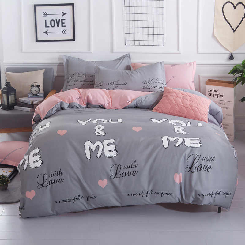 4pcs Bedding Set Fitted Sheet BedSpread Duvet Cover Quilt Pillow Case Bedclothes Kid 1.35m 1.5m Bed Linen Single Queen Full Size