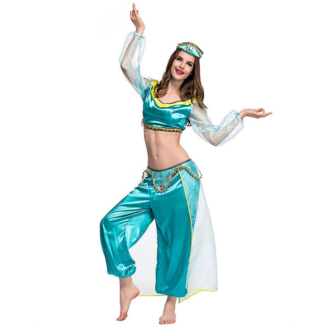 sexy goddess princess jasmine costume adults women carnival halloween costumes belly dance performance arab costume size