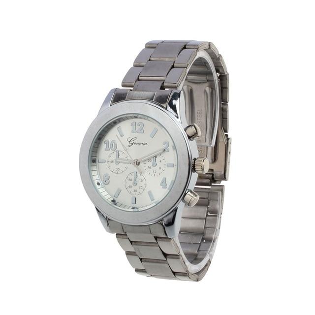 Luxury Geneva Brand fashion gold Silver watch women ladies men Crystal Stainless Steel dress quartz wrist watch Relogio Feminino