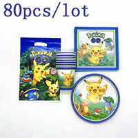 Hot Sale 80Pcs Pokemon Theme Design Kid Birthday Party Event Party Wedding Pikachu Cup Plate Gift Bag Napkins Decoration Supply