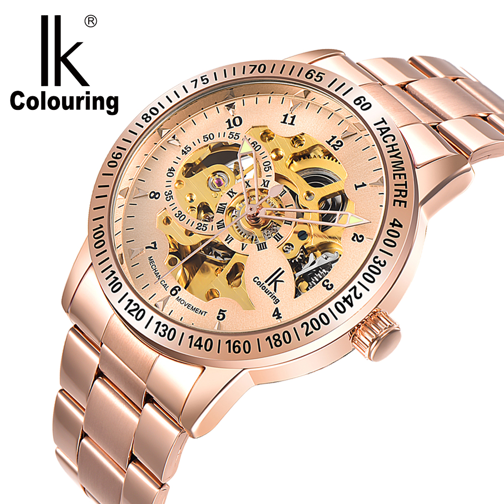 IK Mens Watches Top Brand Luxury Rose Gold Male Clock Automatic Mechanical Skeleton Wristwatch Steampunk Relogio Masculino ik coloring bridge analog display mechanical male clock automatic wristwatch golden bezel skeleton watches relogio masculino
