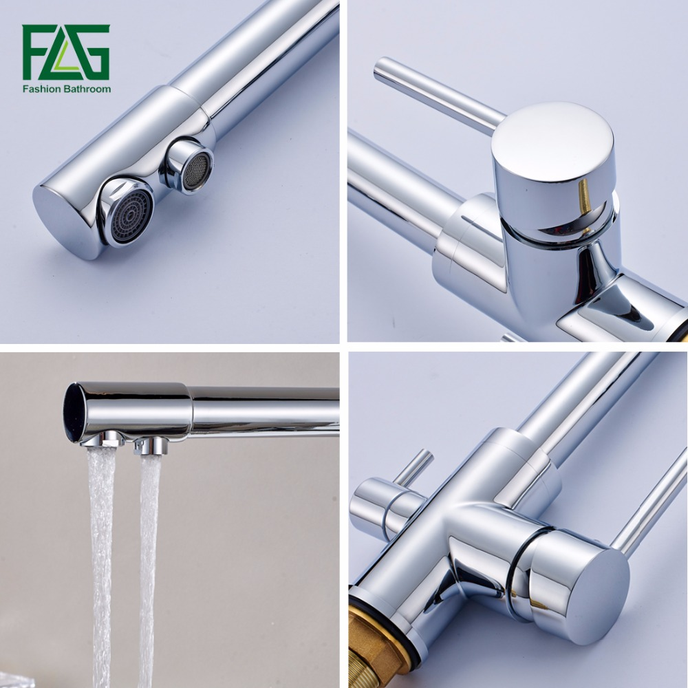 Kitchen Faucets Solid Brass Deck Mounted Mixer Tap 360 Degree ...