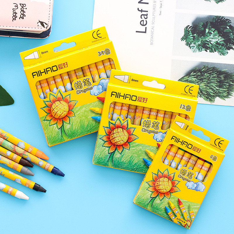 Coloffice Cute Sunflower Painting Crayons Multi-color Pen Child Color Pen Safe Non-toxic Graffiti Pen Crayons School Supplies