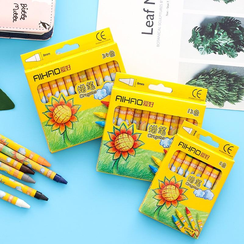 Coloffice Cute Sunflower Painting Crayons Multi-color Pen Child Color Pen Safe Non-toxic Graffiti Pen Crayons School Supplies