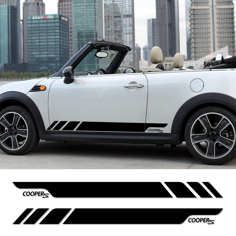 Door Side Skirt Decal Stripe Graphic Car Sticker and Decal for BMW Mini Cooper S R50 R52 R53 R56 R57 R58 R59 2-Door Car Styling