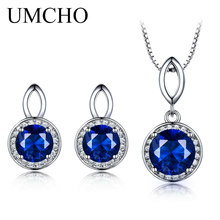 UMCHO Real 925 Sterling Silver Jewelry Sets Created Sapphire Stud Earrings Necklace Elegant Classic Gift For Women Fine