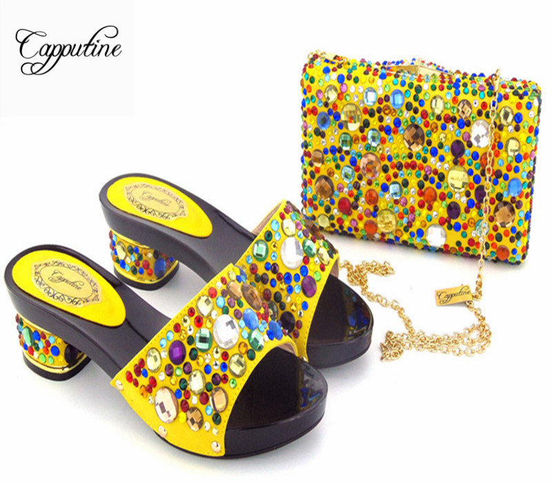 Capputine Italian Style Rhinestones Yellow Color Shoes With Matching Bag Set African Shoes And Bags Set For Wedding Party new arrival design italian shoes with matching bags set nice quality african shoes and bag sets with rhinestones hlu1 17